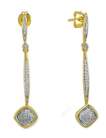 SaySure - Silver Drop Earrings for Women White CZ Diamond