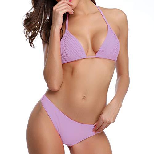 KItipeng Damen Neckholder Bikini Set Sexy Halter Mesh Push Up Zweiteiliger Bikinis Einfarbig Krawatte Badeanzug - Sexy Kostüm Mulan