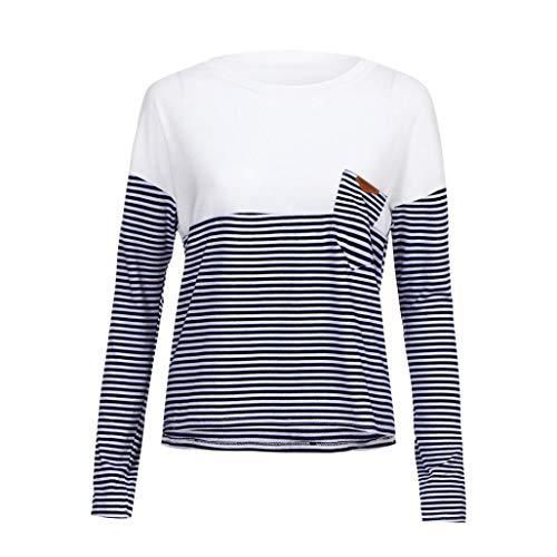 Lucky mall Frauen-Beiläufige Lose Lange Hülsen-Bluse, Oansatz T-Shirts, Frauen Lässig Locker Tops Langärmliges Rundhals-T-Shirt