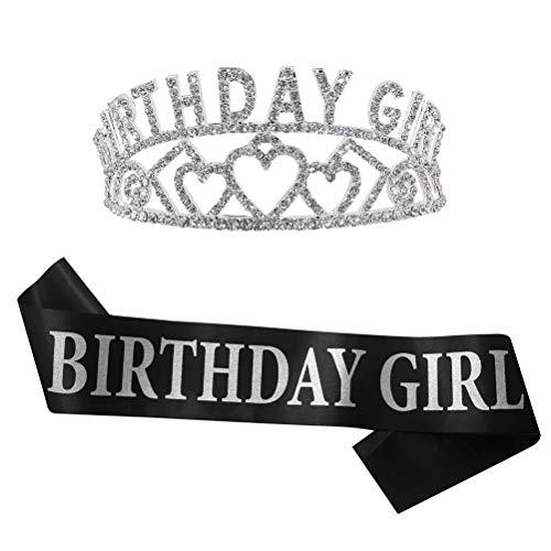 Mimiga Krone Geburtstag Frau Wunderschöne Strass Geburtstag Mädchen Tiara Satin Schärpe Set Exquisite Stirnband Mädchen Krone Geburtstag Zubehör (Tiara Girl Geburtstag)