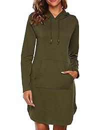 766fbbc75ae8 HOTOUCH Damen Hoodie Langarm Sweatkleid Sweatshirt Kapuzenpullover mit  Kapuze   Taschen