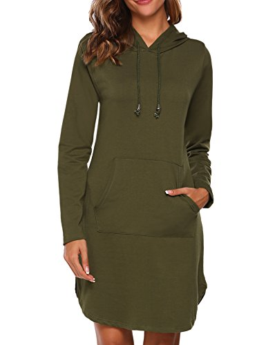 HOTOUCH Damen Kaputzenpullover Hoodie Pullover Frühling Herbst Sweatshirt Langärmelig Kaputzen Outerwear Armeegrün S
