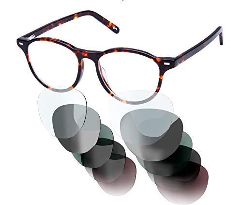 Sym Brille mit wählbarer Sehstärke von -4.00 (kurzsichtig) bis +4.00 (weitsichtig) und auswechselbaren Gläser in 6 Farben, für Damen, Modell 02