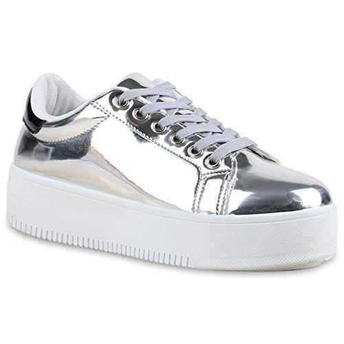 6a94d44a62d6ee Damen Plateau Sneaker Prints Metallic Plateauschuhe 90s Look ...