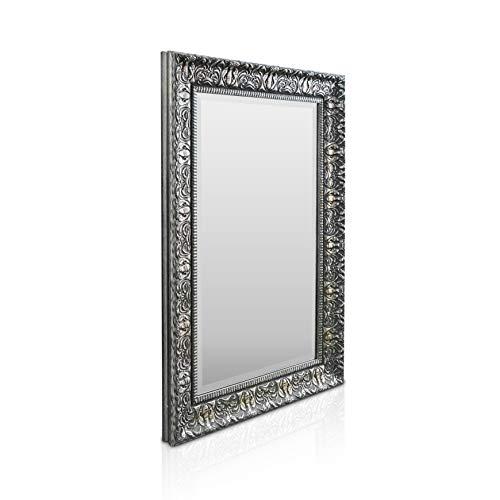 Rococo by Casa Chic - Espejo de Pared Shabby Chic - 90x60 cm - Gran Espejo Estilo Vintage Francés - Carbón y Plata Envejecida