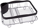 UMBRA Sinkin multi use black. Grand égouttoir à vaisselle Sinkin, avec porte-couverts amovible et base extensible pour séchage au-dessus de l'évier. Noir