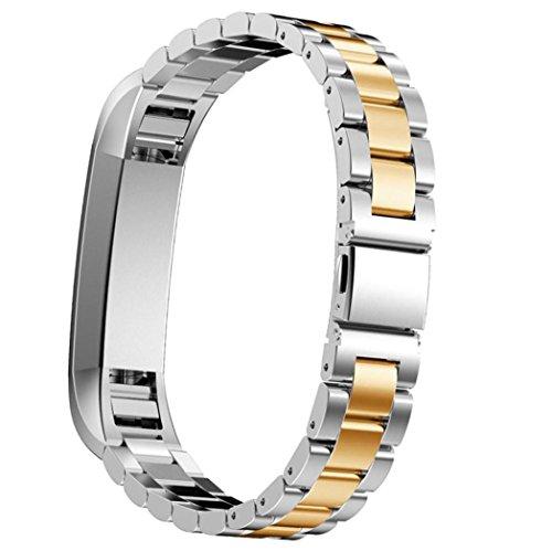 Preisvergleich Produktbild Sansee Edelstahl-Uhrenarmband -Handgelenk-Bügel für Fitbit Alta HR Smart Watch (Drei Perlen Edelstahlband ) (H)