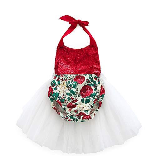 IZHH Kinder MäDchen Rock Baby MäDchen Sling äRmelloses Kind Mesh Rock Sommer Floral Print Solide äRmellose Grenadine Kleidung Kleid(Rot,70)