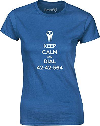 Brand88 - Keep Calm and Dial 42-42-564, Gedruckt Frauen T-Shirt Königsblau/Weiß