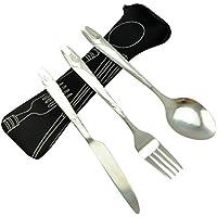 BESTONZON Set de vajilla de acero inoxidable de 3 piezas incluye cuchillo, tenedor, cuchara