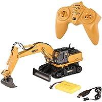 Delicacydex HUINA Toys 1510 2.4G 1/16 11CH Aleación RC Vehículo de construcción de Camiones de excavación con luz de Sonido de rotación de 680 ° - Marrón
