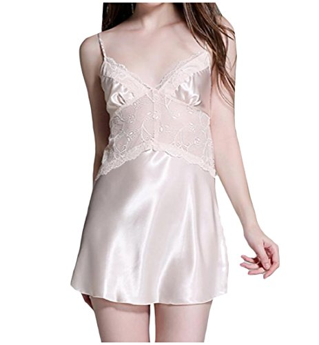 ANDYOU-Women Damen v-ausschnitt, pajama pure color lace charmeuse schlafen kleid M Champagne -