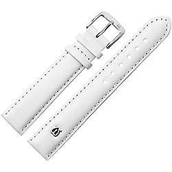 Uhrenarmband 20 mm Leder glatt weiss mit Naht, Bombage - Ersatzarmband aus Rindsleder - leichte Polsterung, glatte Oberfläche - Marburger Uhrenarmbänder seit 1945 - weiss / silber