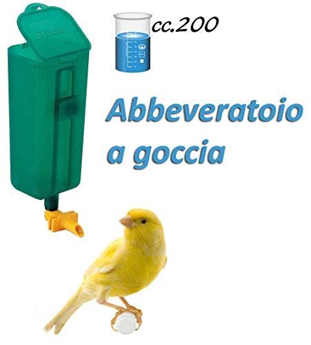 Motisi Zootecnici Abbeveratoio per canarini Uccelli a Goccia con Serbatoio da ml.200 da Inserire nelle Gabbie, Colori Assortiti.