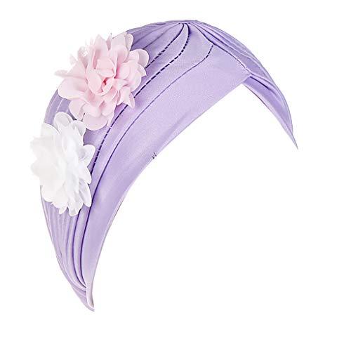 erthome Frauen Zwei Blumen Indien Hut Muslim Rüsche Krebs Chemo Beanie Turban Wrap Cap EIN Hut, der Sich für alltägliche Ausflüge eignet (Lila Tintenfisch Kostüm)