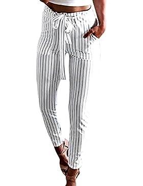 Pantalones Largas Mujeres Verano 2018 Pantalones de Rayado Vertical Cómodo Pantalones Cintura Alta Casual con...