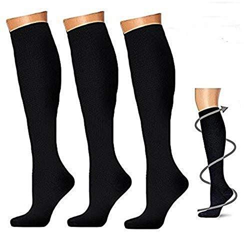 3 coppie Calze a compressione per uomo e donna, calze a compressione graduata 20 - 30 mmHg per...