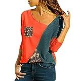 MRULIC Damen Kurzarm T-Shirt Rundhals Ausschnitt Lose Hemd Pullover Sweatshirt Oberteil Tops(B-Rot,EU-44/CN-2XL)