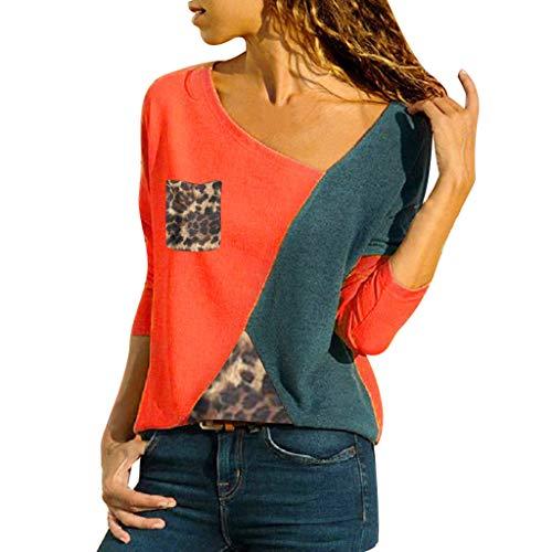 UJUNAOR Frühling Frauen Top Shirt Großformatiges Damen Langarm-Patchwork Bluse mit V-Ausschnitt(Rot,CN M)