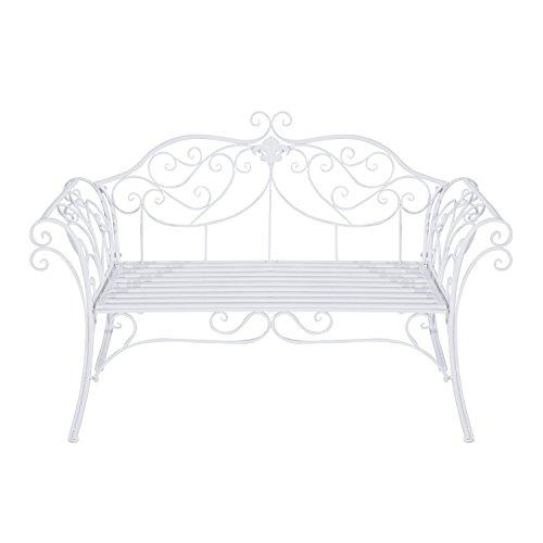 Outsunny Gartenbank, Metall, weiß, 134 x 51 x 89 cm, 840-053 - 5