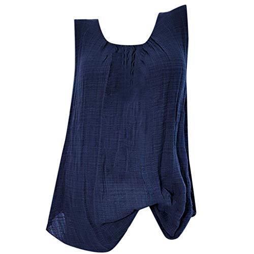 Chemisier Aux Femmes FNKDOR Grande Taille Coton Lin Baggy sans Manche T-Shirt Gilet Tee Blouse Débardeurs (Bleu,FR-52 / CN-5XL)