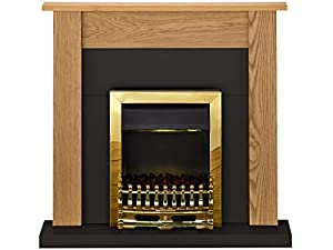 Adam Southwold Fireplace Suite in Oak and Black with Blenheim Electric Fire in Brass, 43 Inches
