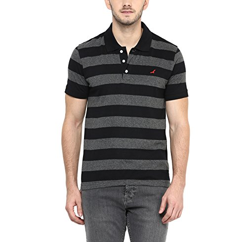 American Crew Men's Polo Collar Black & Charcoal Melange Stripes T-Shirt - S (AC569-S)