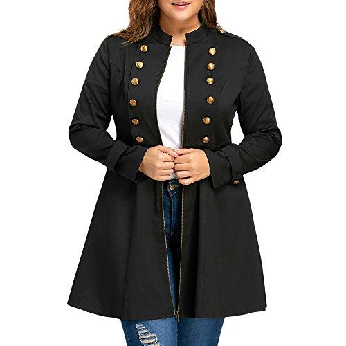 Rosegal Damen Plus Size Vintage Longline Mantel Zweireiher Flare Windjacke Zeigen Dünne Winddicht...