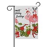 SENNSEE Weihnachtsflagge mit Flamingos und Blättern, 30,5 x 45,7 cm, doppelseitig, für Party, Zuhause, Dekoration im Freien, Polyester, Multi, 12x18(in)