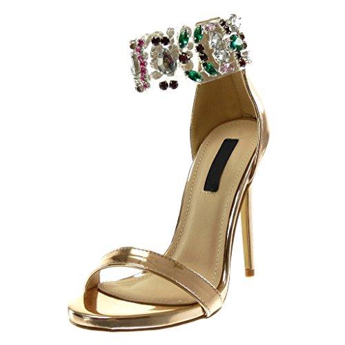 Angkorly scarpe moda sandali decollete con tacco stiletto alti donna gioielli trasparente tanga tacco stiletto alto 12 cm - champagne b7780 t 38