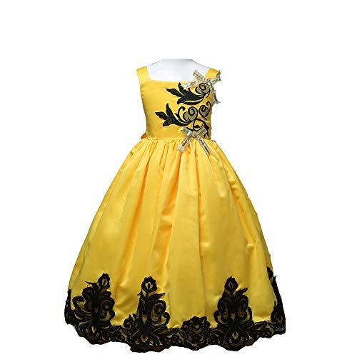 CHANMI Europäischen und amerikanischen Mädchen Prinzessin Kleid Langen Riemen bestickten Rock Satin Spitze Langen Rock Kinder Brautkleid - Team Bella Kostüm