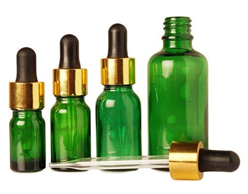10 ml boston rondes bouteilles vertes de verre gros bouteilles de gouttes d'huiles essentielles rechargeables vide pipette flacons compte-gouttes de l'œil beaucoup de 100