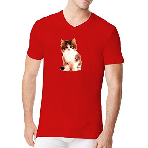 Fun Männer V-Neck Shirt - Kleines Kätzchen by Im-Shirt Rot