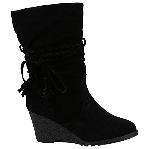 Damen Stiefel Keilabsatz Wedges Profilsohle Boots 150371 Schwarz Fransen 38 | Flandell® (Keil-stiefel)