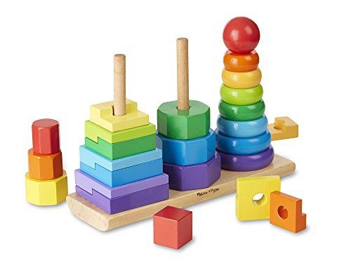 Melissa & Doug 10567 Geometric Stacker, Wooden Educational Toy