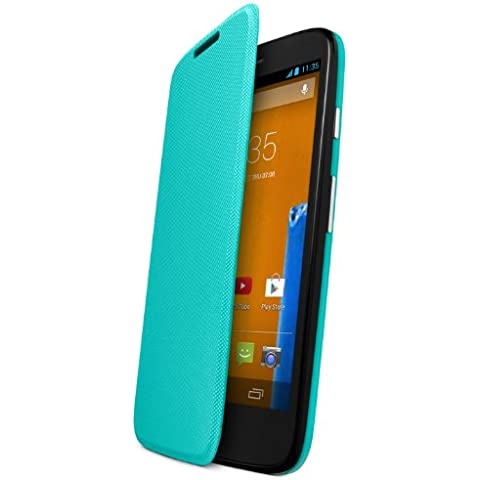Motorola - Funda Flip oficial para Motorola Moto G, Azul Turquesa