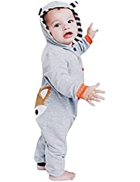 K-youth® Recién nacido Pijama Bebé Niñas Niños Sudadera con capucha Zorro Rayas Jumpsuit