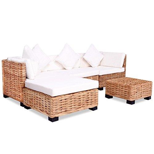 Festnight 18-TLG. Lounge Sofa Gartensofa Lounge Set Loungemöbel Loungeset Gartenmöbel Rattan Natur -