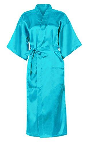 HonourSport-Kimono Japonais Longue Uni Sexy Robe de Chambre-Femme Bleu