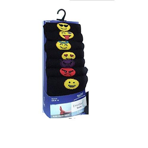 FF11 7Paar Socken, ein Paar für jeden Tag der Woche, abgestimmt auf Ihre Tagesstimmung, schwarz, Baumwolle, Anzug, Größe 39-45 Gr. 39/45, 7 PAIR PACK EMOTION [WH1253]