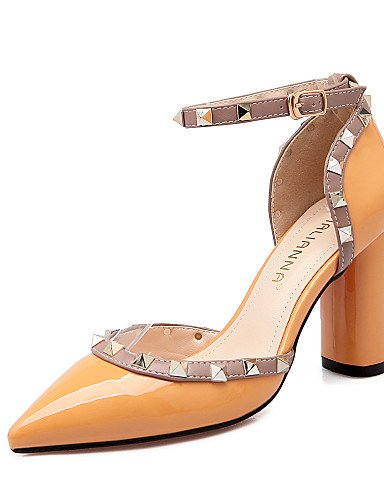 LFNLYX Scarpe Donna-Sandali-Formale-Tacchi / A punta / Chiusa-Quadrato-Finta pelle-Nero / Giallo / Rosa / Rosso / Grigio Pink