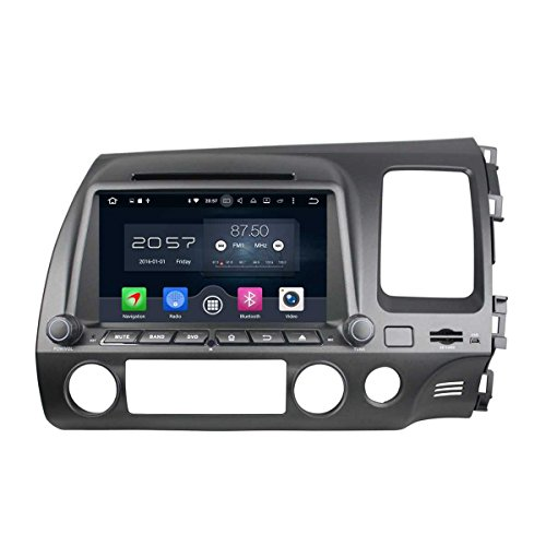 8 Zoll 2 Din Android 6.0 OS Autoradio für Honda Civic(2006-2012) RHD,DAB+ Radio kapazitiver Touchscreen mit 8 Core 1.5G Cortex A53 CPU 32G Flash und 2G DDR3 RAM GPS Navi Radio DVD Player 3G/WiFi (Oem-dvd-civic 2010)