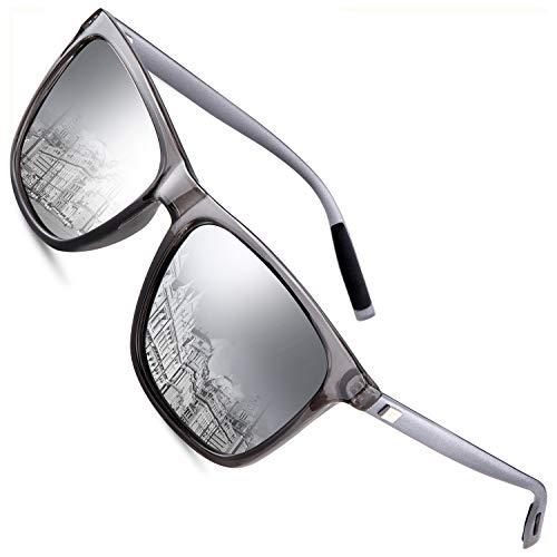 FEIDU Polarized Sonnenbrille Herren damen UV400 Schutz für Herren Autofahren Laufen Radfahren Angeln Golf FD9003 (Silber, 2.24)