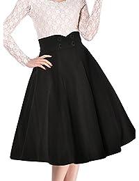MIUSOL Damen Causal Business Röcke Elegant Vintage 50er Zweireiher Faltenrock