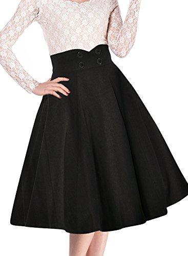Miusol Damen Elegant Faltenrock Zweireiher Causal Business Vintage 1950er Jahr Roecke Schwarz Gr.S -