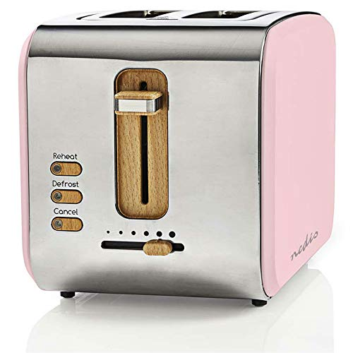 TronicXL ECO Toaster Holz Design Applikationen + rosa Soft-Touch + Edelstahl silber - 6-Stufen - 900W - Designer Retro Holzdesign