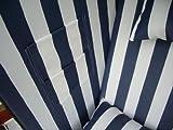 XINRO® – XY-01 – Garten Strandkorb inkl. Luxus Strandkorb Schutzhülle u. 4x Kissen, Blau-gestreifter Stoff – braunes Holz, Nordsee Strandkorb Form - 4