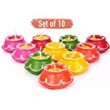 FIZZYTECH Handmade Matki Candles | Diwali Decoration Lihts|tealight Diwali|Diya For Temple|Diwali Lights For Decoration Of Home (Set Of 10pc, Multicolor)