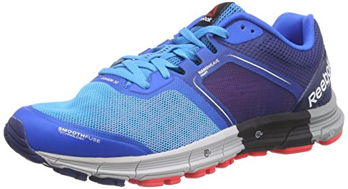 10 Cushion Laufschuh (Reebok One Cushion 3.0, Herren Laufschuhe, Mehrfarbig (Farout Blue/Cycle Blue/Club Blue/Neon Cherry/Steel/Garvel), 44.5 EU (10 Herren UK))