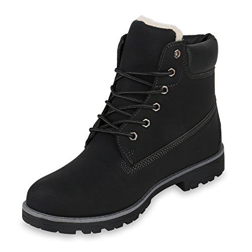 Stiefelparadies Herren Worker Boots Profilsohle Stiefeletten Gefütterte Outdoor Schuhe Schnürboots Wildleder-Optik Nieten Camouflage Flandell Schwarz Grau Weiß